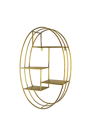Kalalou Tall Oval Brass Finiss Wall Shelving Unit, , rollover