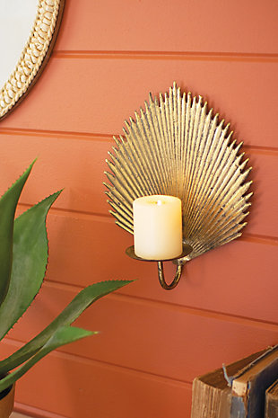 Kalalou Antique Brass Palm Leaf Candle Sconce, , large