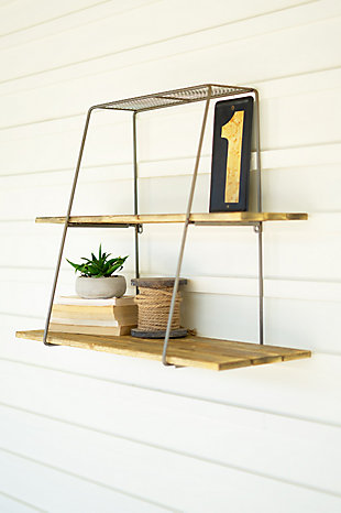 Kalalou Recycled Wood and Metal Shelf with Wire Mesh Top, , large