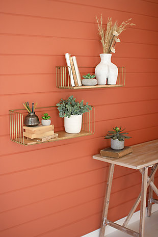 Kalalou Set of Two Wood and Wire Shelves, , rollover