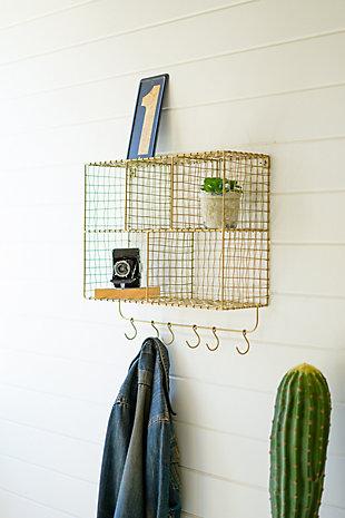 Kalalou Five Cubbie Wire Wall Shelf with Hooks, , rollover