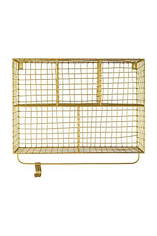 Kalalou Five Cubbie Wire Wall Shelf with Hooks, , large