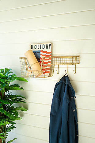 Kalalou Wire Wall Shelf with Basket and Hooks, , rollover