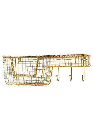 Kalalou Wire Wall Shelf with Basket and Hooks, , large