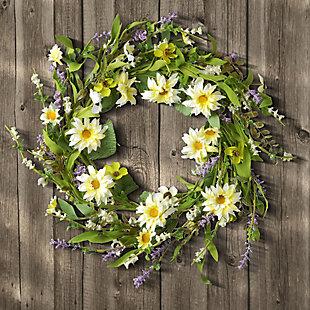 National Tree Company Garden Accents Yellow Daisy Wreath, , rollover