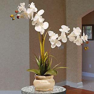National Tree Company White Potted Orchid Flower, , rollover