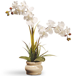 National Tree Company White Potted Orchid Flower, , large
