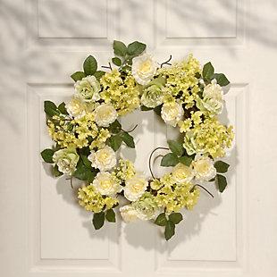 National Tree Company Cream Rose Wreath, , rollover