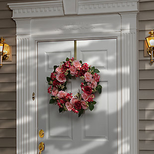 National Tree Company Pink Rose Wreath, , rollover