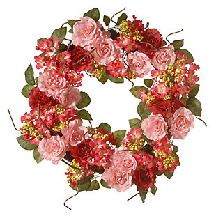 National Tree Company Pink Rose Wreath, , large