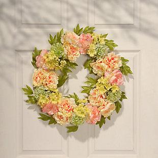 National Tree Company Cream Peony Wreath, , rollover