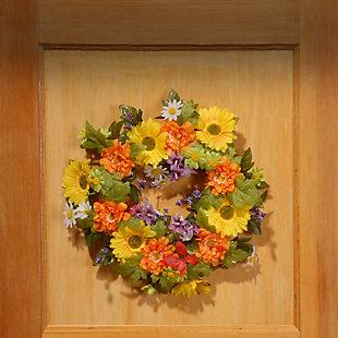National Tree Company Daisy Decorated Wreath, , rollover