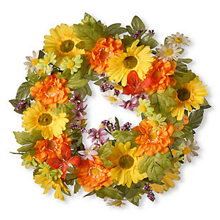 National Tree Company Daisy Decorated Wreath, , large