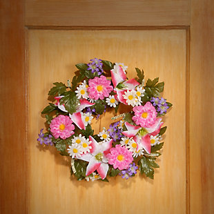 National Tree Company Daisy and Tiger Lily Wreath, , rollover