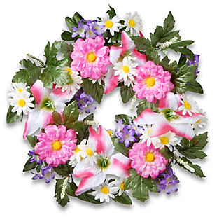 National Tree Company Daisy and Tiger Lily Wreath, , large
