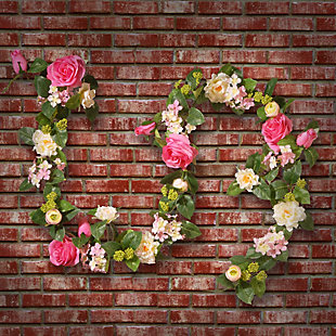 National Tree Company Rose and Hydrangea Garland, , rollover