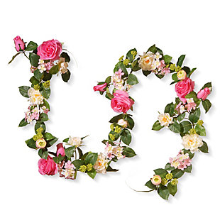 National Tree Company Rose and Hydrangea Garland, , large