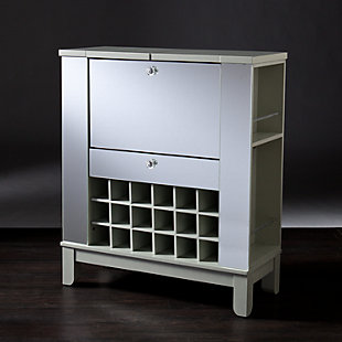 Mirage Mirrored Fold-Out Wine/Bar Cabinet, , large
