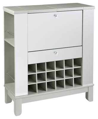 Ashley SEI Mirage Mirrored Fold-Out Wine/Bar Cabinet, Met...