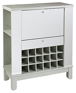 SEI Mirage Mirrored Fold-Out Wine/Bar Cabinet, , large