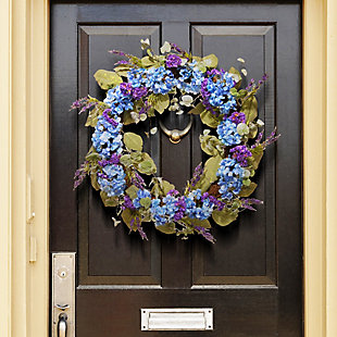 National Tree Company Blue Hydrangea Wreath, , rollover
