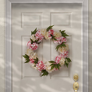 National Tree Company Pink and White Peony Wreath, , rollover