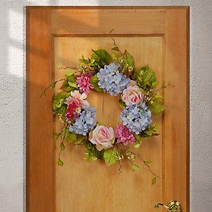 National Tree Company Hydrangea, Rose and Dahlia Wreath, , rollover