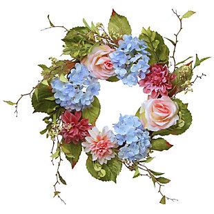 National Tree Company Hydrangea, Rose and Dahlia Wreath, , large