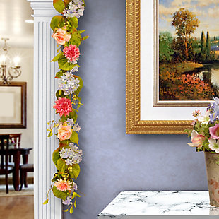 National Tree Company Hydrangea, Rose and Dahlia Garland, , rollover