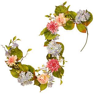 National Tree Company Hydrangea, Rose and Dahlia Garland, , large