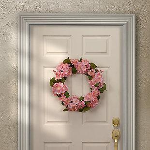 National Tree Company Pink Hydrangea Wreath, , rollover