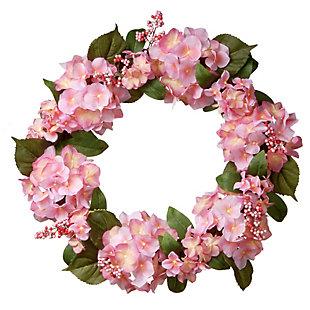 National Tree Company Pink Hydrangea Wreath, , large
