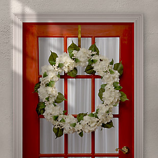 National Tree Company Cream Hydrangea Wreath, , rollover