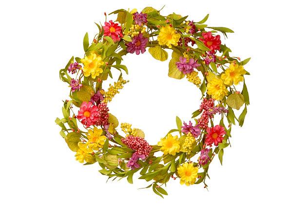National Tree Company Multicolor Daisy Wreath, , large