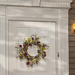 National Tree Company Poppy and Pansy Wreath, , rollover