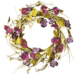 National Tree Company Poppy and Pansy Wreath, , large