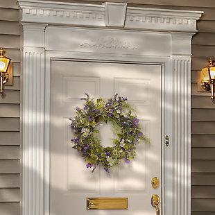 National Tree Company Purple Flower Wreath, , rollover