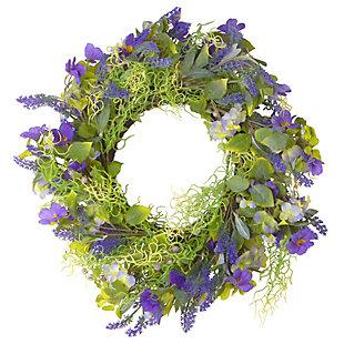 National Tree Company Purple Flower Wreath, , large