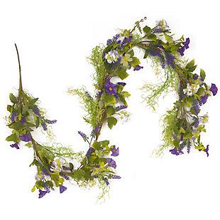 National Tree Company Purple Flower Garland, , large