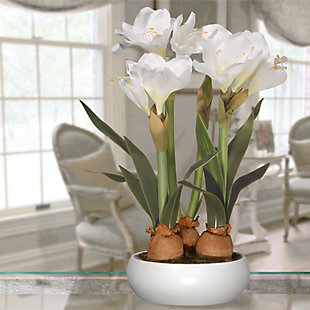 National Tree Company White Amaryllis Flowers, , rollover