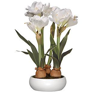 National Tree Company White Amaryllis Flowers, , large