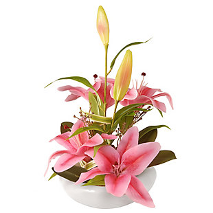 National Tree Company Pink Lily Flowers, , large
