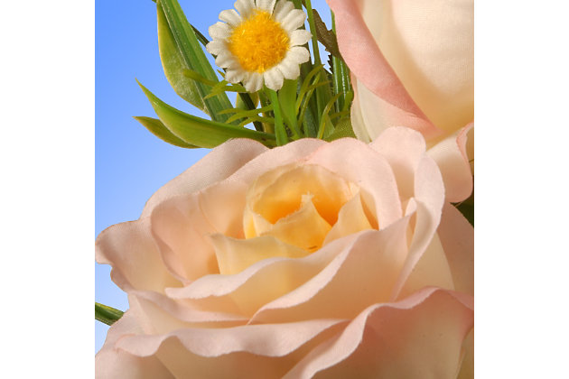 National Tree Company Peach Rose Flowers, , large