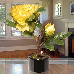 National Tree Company Yellow Peony Flower, , rollover