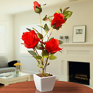 National Tree Company Red Rose Flower, , rollover