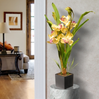 National Tree Company Yellow Orchid Flowers, , large