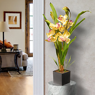 National Tree Company Yellow Orchid Flowers, , rollover
