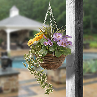 National Tree Company Pansy and Ivy Hanging Basket, , rollover