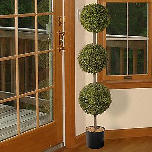 National Tree Company Boxwood Three-Ball Topiary, , rollover