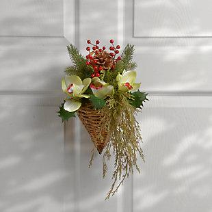 National Tree Company Cymbidium Flower Wall Basket, , rollover